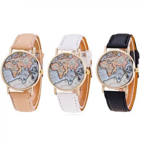 Vintage Orologi da Polso Quarzo MAPPA MONDO Pelle Cuoio Uomo Donna Wrist Watch