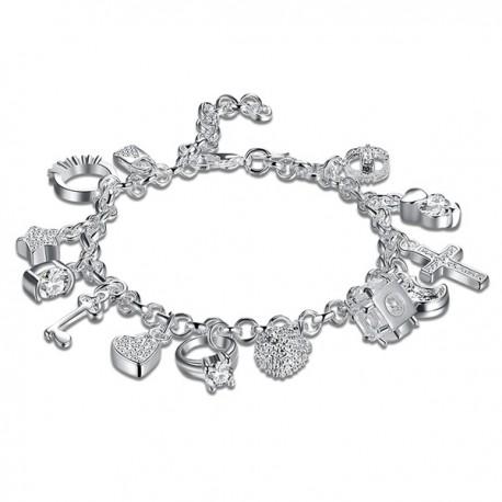 Stupendo Bracciale Charm Ciondoli e pendenti Perline Argento 925 alta Bigiotteria