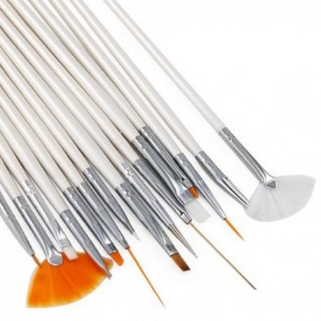 Set 15 Pennelli ricostruzione unghie nail art pedicure gel Pennello Design