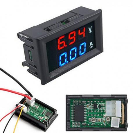 AMPEROMETRO VOLTMETRO DIGITALE LED ROSSO BLU DISPLAY DOPPIO TESTER 100V 10A