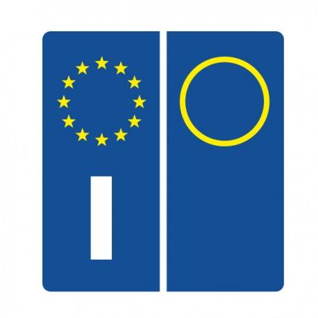 2 ADESIVI TARGA EUROPEA AUTO OMOLOGATI PVC ITALIA SIMBOLI ADESIVO EUROPA