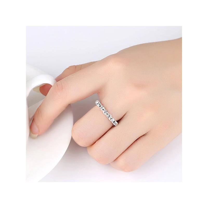 ANELLO donna ARGENTO fascia elastica cristalli strass fedina veretta ring N36